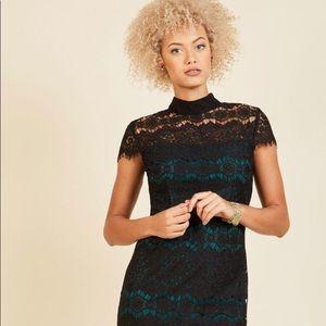 ModCloth Black and Emerald lace dress